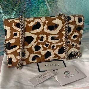 Gucci Leopard Print Flap Chain Clutch Crossbody